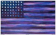 Memorial Day Drawings Prints - Majestic Purple Flag Print by Eric  Schiabor