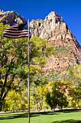 U.s. Flag Framed Prints - Majestic Sight - Zion National Park Framed Print by Jon Berghoff