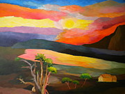 Juniper Paintings - Majestic sunset in the country  by Louisa Bryant
