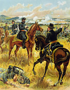 Horses Drawings Prints - Major General George Meade at the Battle of Gettysburg Print by Henry Alexander Ogden