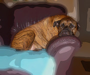 Watchdog Prints - Major the bullmastiff poster Print by Tessa Fairey