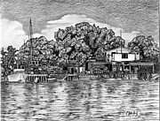 Dock Drawings - Majuro Harbor by Lew Davis