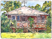 North Shore Mixed Media Prints - Makawao House Print by Stacy Vosberg