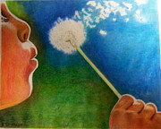 Dandelion Drawings - Make a wish and blow by Betsy Frahm