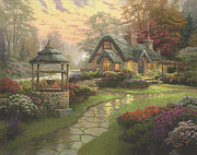 Thatched Framed Prints - Make A Wish Cottage Framed Print by Thomas Kinkade