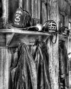 Fire Departments Framed Prints - Makers Mark Firehouse bw Framed Print by Mel Steinhauer