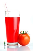 Healthy Children Posters - Making A Cup Of tomato Juice Miniature Art Poster by Paul Ge