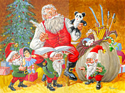 Santa Claus Prints - Making A List Checking It Twice Print by Richard De Wolfe