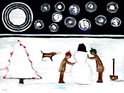 Mother Mary Mixed Media - Making A Snowman At Christmas 2 by Patrick J Murphy