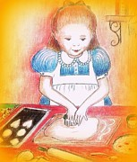 Little Girl Mixed Media - Making cookies by Barbara LeMaster