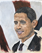 Barack Obama Painting Posters - Making History Poster by Star  Mudersbach