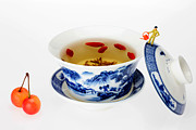 Red And Tea Prints - Making Longjing Tea traditional chinese culture miniature art Print by Paul Ge