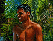 Tropical Painting Originals - Making Nohea Laugh by Douglas Simonson