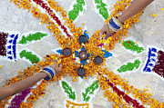 Ethnic Photos - Making Rangoli with flower petals and oil lamps by Tim Gainey