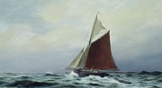 Sailboat Ocean Paintings - Making sail after a blow by Vic Trevett