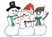 Mascot Drawings Prints - Making Snowman Santa Print by Minnie Lippiatt