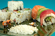 Stir Digital Art Framed Prints - Making Sushi little people on food Framed Print by Paul Ge