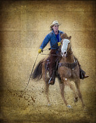 Quarter Horses Photo Posters - Making The Turn Poster by Susan Candelario