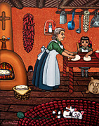 Folk Art Posters - Making Tortillas Poster by Victoria De Almeida