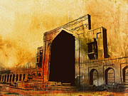 University Buildings Drawings Prints - Makli Hill Print by Catf