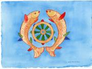 Golden Fish Painting Posters - Makya Golden Fish Poster by Wicki Van De Veer