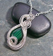 Malachite Jewelry - Malachite and Silver Mini Swish Pendant by Heather Jordan