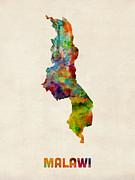 Malawi Watercolor Map Print by Michael Tompsett