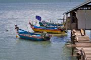 Docked Boats Photo Prints - Malaysian Fishing Jetty Print by Louise Heusinkveld