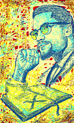 Kenal Louis Digital Art Prints - Malcolm X Drawing In Lines Print by Kenal Louis