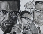 Civil Rights Pastels Prints - Malcom X Print by Aaron Balderas