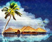 Palm Tree Art - Maldives by George Rossidis