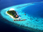 Maldivian Prints - Maldivian Resort. Aerial Journey over Maldives  Print by Jenny Rainbow