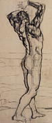 Standing Drawings Framed Prints - Male Act   Study for the Truth Framed Print by Ferdninand Hodler
