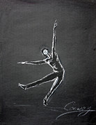 Minimalist Pastels Framed Prints - Male Dancer In White Lines On Black Framed Print by Tom Conway