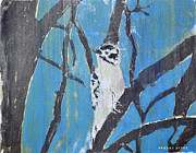 Woodpecker Mixed Media - Male Downy Woodpecker Monoprint by Verana Stark