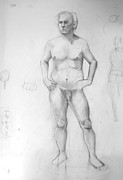 Figure Study Drawings Prints - Male Figure Study Print by Britt Kuechenmeister