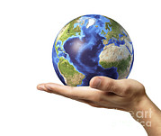 Fingertips Prints - Male Hand Holding Earth Globe Print by Leonello Calvetti