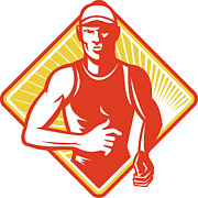 Woodcut Digital Art Posters - Male Marathon Runner Running Retro Woodcut Poster by Aloysius Patrimonio