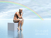 Hand On Chin Digital Art Posters - Male Musculature Sitting On A Cube Poster by Elena Duvernay