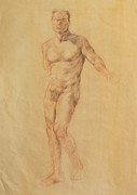 Kim Drawings Framed Prints - Male Nude 2 Framed Print by Becky Kim