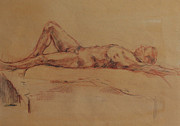 Becky Kim Drawings - Male Nude 3 by Becky Kim