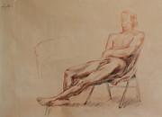 Kim Drawings Framed Prints - Male Nude 4 Framed Print by Becky Kim