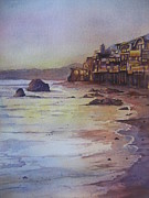 Beach Sunset Paintings - Malibu sunset by Patricia Pushaw