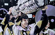 Hockey Print Paintings - Malkin Hoisting The Cup. by Philip Kram