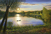 Mallard Ducks Paintings - Mallards Lake by Doug Kreuger