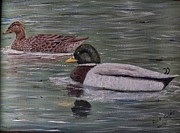 Mallard Ducks Paintings - Mallards on Holloway Cove by Richard Goohs
