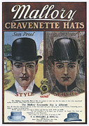 Nineteen-tens Art - Mallory  1910s Usa Hats Mens Bowler by The Advertising Archives