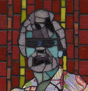 Mosaic Portrait Glass Art - Mallory - Private Eye by Gila Rayberg