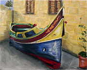 Rabat Posters - Maltese Fishing Boat in Winter Storage Poster by Sue Tasker
