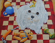 Maltese Dog Posters - Maltese with toys Poster by Laura Bolle